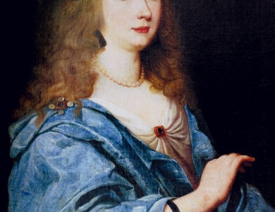 A. Tempel Portrait of a lady in blue dress