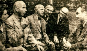 Meeting of Transcarpathian artists with Kent R. during his stay in Ukraine. From left to right wife of Kent R. Selli., R. Kent, Y. Bokshai, Z. Sholtes, G. Gluck, A. Kashshai, 1964