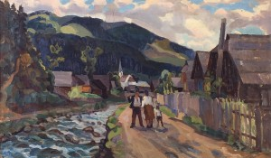Bohdan Village, 1978, oil on cardboard, 62x108