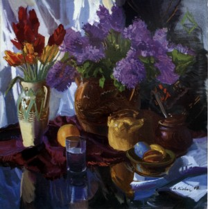 Still life With Easter Bread, 2008, oil on canvas, 80x80