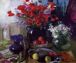 Still life With Poppies, 2008, oil on canvas, 73x84