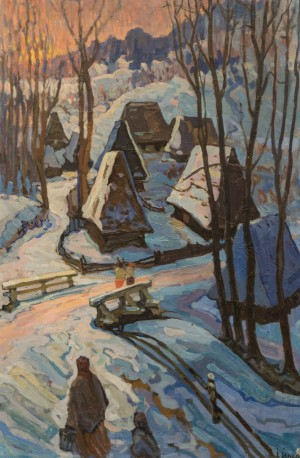 Richka Village, 1959, oil on canvas, 78х17,5