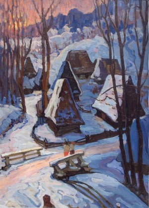 Richka Village, 1959, oil on canvas, 117.5x78