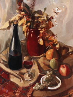 Still life With Glass of Wine, 2002, oil on canvas, 80x60