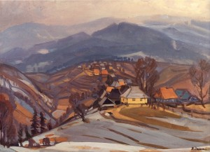 Shcherbovets Village, 1982, oil on canvas, 66x90
