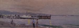 Пляж увечері, 1956, к.о. 13х35