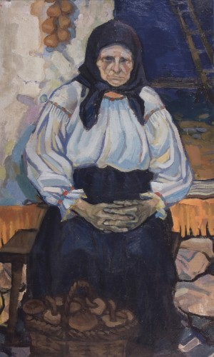 Peasant-Woman From Grushiv Village, 1965, oil on canvas, 87x50