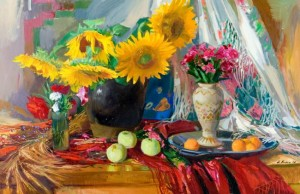 Still life With Sunflowers, oil on canvas