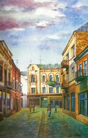 Korzo street 1997 watercolour
