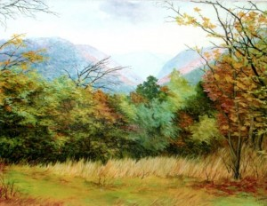 'In The Carpathins. Vorochevo Village', 1998, oil on canvas, 70x90