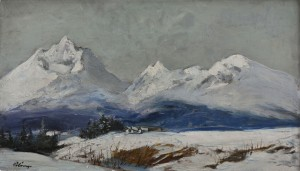 'The Snowy Tatras Mountains', the 1940s, oil on cardboard, 43x46.jpg