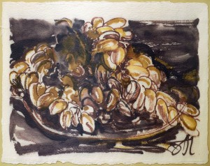 A. Chebykin Grapes', 2017, coloured ink on paper, brush
