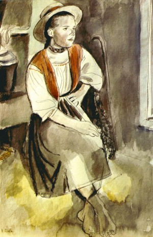 A Maidservant, 1936, colour drawing, paper, sauce, ink, pen, 47,8х31