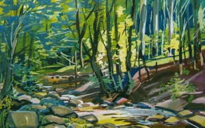 Forest Stream, 2010, gouache, acrylic on canvas, 50х75