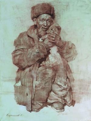 An Old Man With A Dog, 2005, 101x76