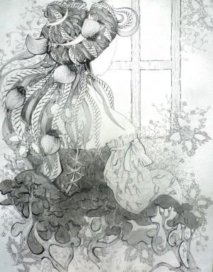 'Мавка', 2009, пап.туш,перо, гел.ручка, 86х55