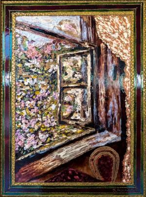 Вікно в дитинство, 2010, скло, фарби по склу, авт. техн.