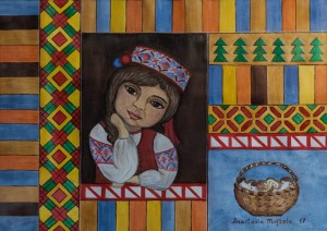 A. Moshkola 'Hutsulka Kseniia', 2017, watercolour on paper, 30x42