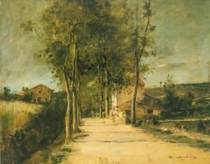 Пейзаж з деревами та двоповерховим будинком 1882 р