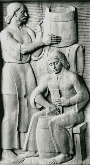 Із серії  Життя і побут закарпатців, Бондарі, 1981, дерево, 60х110