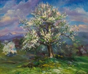 Яблунька цвіте, 2010, 85х95