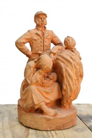 На панщині, 1963. Теракота, скульптура малих форм.ПЗ. Ужгород.