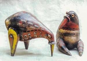 Птахи, 1994, шамот, ангоби, полива, 30х25х16