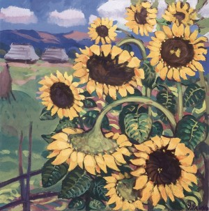 Sunflowers, 1972, tempera on canvas, 80x70