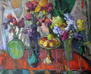 Still life With Irises, 2011, oil on canvas, 100x120