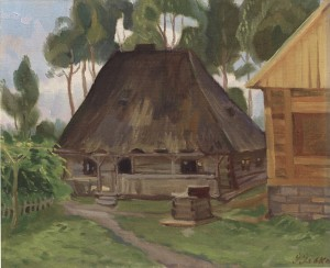 Old Hut Of The Tyvodars, 1963, oil on canvas, 50x60