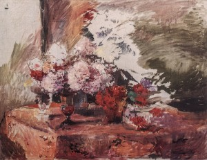 Peonies (The last incomplete work of the artist), 1973, oil on canvas, 75x90