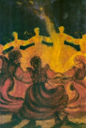 Танець біля вогню, 1966, карт. зміш.техн. 49х33,5