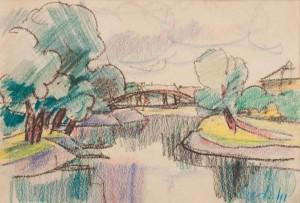 Краєвид з мостом у місті Дьор, 1943 (Приватна колекція)