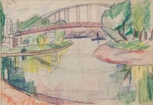 Краєвид з мостом у місті Дьор, 1943, (Сімейна колекція Уманських)