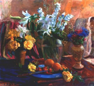 Still life With White Lilies, oil on canvas, 94x98