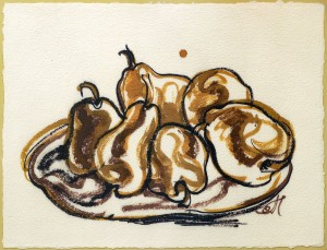 A. Chebykin Pears', 2017, coloured ink on paper, electronic print