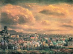 Весняний Ужгород, 1994, пап.паст., 75.5х100