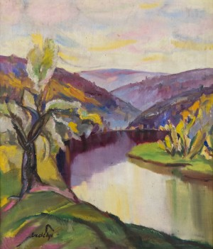 View of The Little Uhz River Outside Uzhhorod, 1930s, oil on canvas