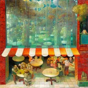 Summer Restaurant, 1983, oil on canvas, 110x110