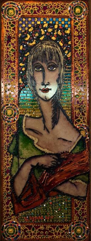 Vira, 2015, glass, paint on glass, authors technique