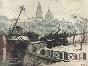V. Myronenko 'The Germans Have Gone. The Ruins Of Kharkiv Bridge', 1943, etching