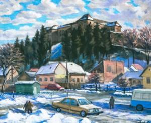 Ужгородський замок взимку, 2001, п.о., 50х70