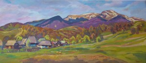 Nehrovets Village, 2005, oil on canvas, 60x110