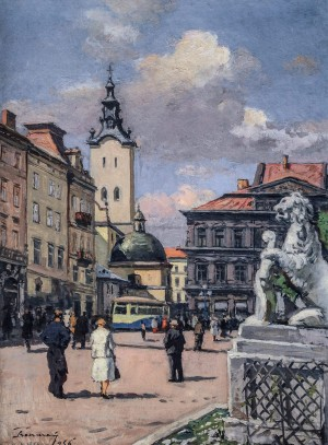 Rynok Square In Lviv, 1956, oil on cardboard, 50х68,5