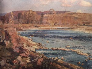 A View Of The Valley Of The Uzh River Near Uzhhorod, 1945, oil on board, 70x100