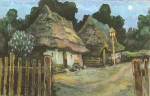 Household In Horiany District, 2000, oil on cardboard, 50х80