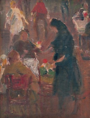 Saleswoman Of Flowers, 1936, oil on cardboard, 33x25