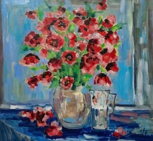 'Poppies', 2018, 69x64