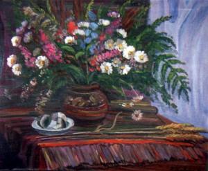 Квіти на червоному фоні, 1992, п.о., 72х74