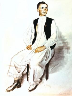 Портрет І. Кубинця, 1937, пап.акв., 59,8х47,2